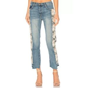 Current Elliott Floral Original Straight Jeans